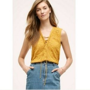 ANTHROPOLOGIE MAEVE Marigold Floral Lace Up Blouse